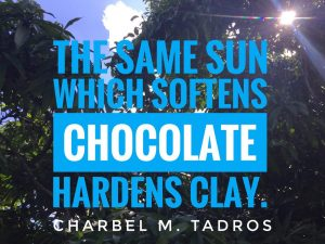 the same sun which softens chocolate hardens clay