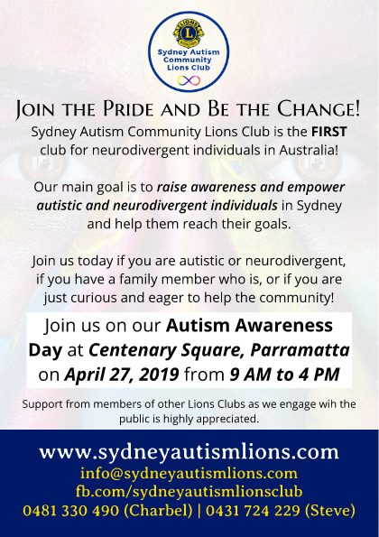 Sydney Autism Community Lions Club Autism Awareness Day